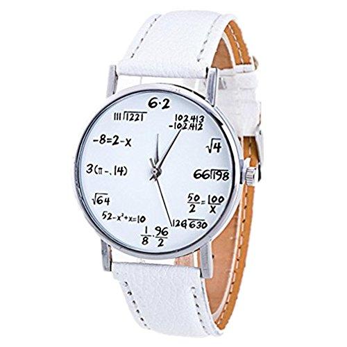 DAY.LIN Uhr Damen Uhren Mode Mädchen Muster Lederband Analog Quarz Vogue Uhren (Weiß)