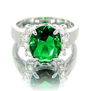 myCullinan Emerald Color CZ Oval Silver Tone Ring (US size 7) R3249_7