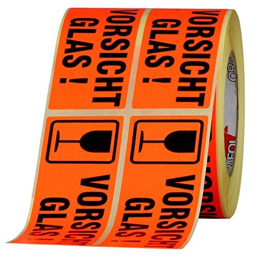 100 Etiketten Vorsicht Glas/zerbrechlich Haftpapier 150 x 50 mm leuchtend rot
