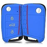 kwmobile VW Golf 7 MK7 Autoschlüssel Hülle - Silikon Schutzhülle Schlüsselhülle Cover für VW Golf 7 MK7 3-Tasten Autoschlüssel Blau