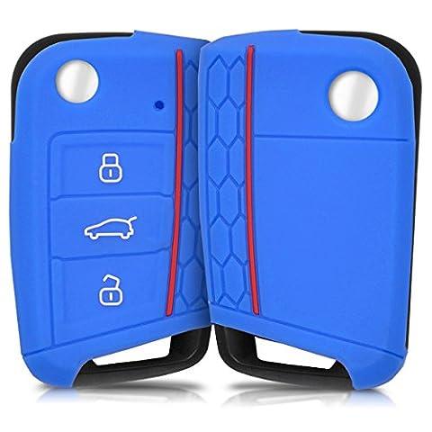 Hülle für VW Golf 7 MK7 3-Tasten Autoschlüssel - kwmobile Silikon Schlüssel Schutzhülle in Blau - Etui Schlüsselhülle Cover Klappschlüssel