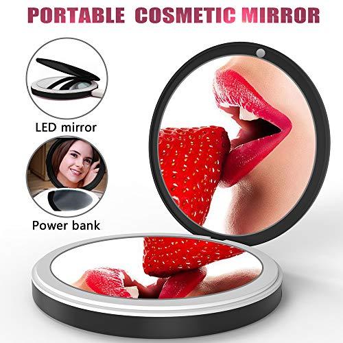 BMK Make Up Taschenspiegel, Zweiseitiger Spiegel/Taschenspiegel LED/Vergrößerungsspiegel mit Licht...