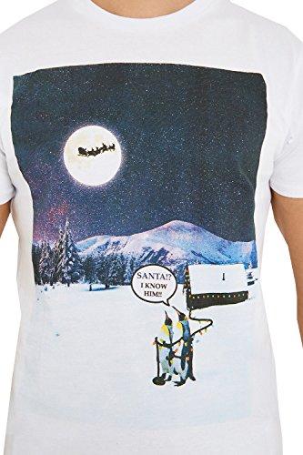 Herren Weihnachten T-shirts Threadbare Eisbär Weihnachten Slogan Schneeflocken Neuheit Neu White - MMV104PKA