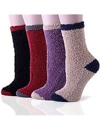HapiLeap 4 Pairs Premium Soft Warm Microfiber Fuzzy Socks Winter Sleeping Cozy Home Socks - Christmas Gift