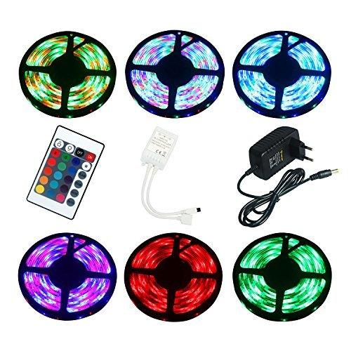 ALED LIGHT 5m Wasserdicht RGB LED Streifen mit 300 LEDs (SMD 3528) + 24 Tasten Fernbedienung +12v 2A Netzteil mit EU Stecker für Haus & outdoor Decorative [Energy Class A]
