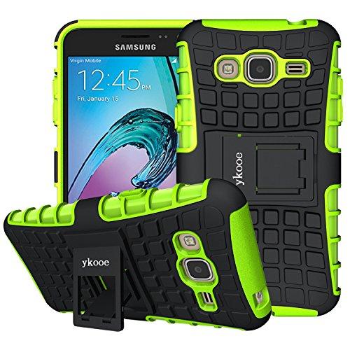 ykooe Galaxy J3 Hülle (2016), (TPU Series) J3 Dual Layer Hybrid Handyhülle Drop Resistance Handys Schutz Hülle mit Ständer für (2016) Samsung Galaxy J3 (Grün)