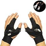 Qunlei Angeln Handschuhe, LED Taschenlampe Magic Fingerlose Mehrzweck-Handschuhe mit 2 LED Licht für Reparaturen in der Dunkelheit Places, Angeln, Camping, Wandern und Outdoor Aktivitäten …