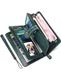 cc2fc7b85a Portafoglio Donna Pelle RFID Portafoglio Grande Donna con Cerniera  Portafogli Capienti Donna-26 Solt per