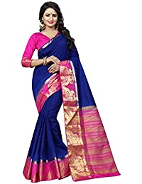 SATYAM WEAVES WOMEN'S ETHNIC WEAR COTTON SILK KANJIVARAM SAREE. (PEACOCK TAJ)