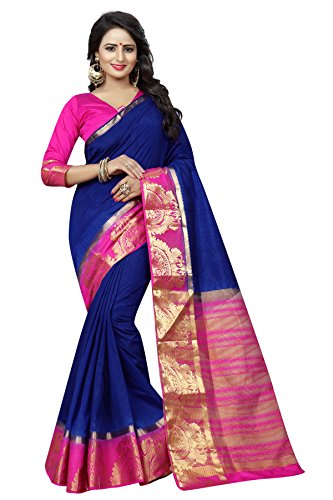 SATYAM WEAVES WOMEN'S ETHNIC WEAR COTTON SILK KANJIVARAM DARK BLUE-PINK COLOUR SAREE....