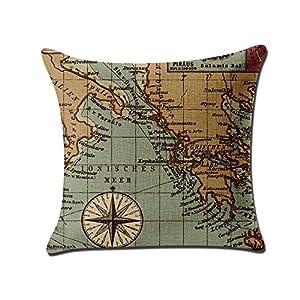 2pieza decorativa almohada funda de cojín Mapa del Mundo Lino Espacio almohada fundas de cojín (para Auto, sofá, Hogar 45x 45cm (sin relleno)
