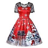 MIRRAY Damen Weihnachten Kurzarm Spitze Patchwork Druck Vintage Kleid Party Kleid