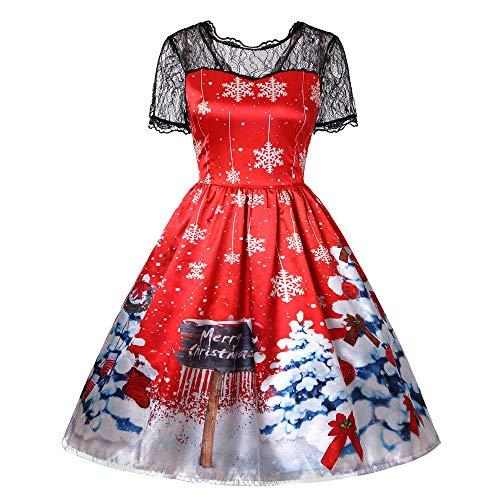 TWBB Damen Weihnachtsmann Drucken Kostüm Swing-Kleid Winter Abschlussball Cocktailkleid Abendkleid Partykleid, Empire Schärpen Knielang Ballkleid