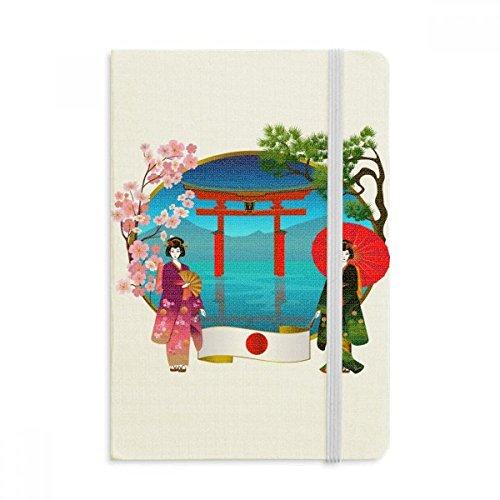 DIYthinker Ragazza del kimono giapponese Cultura Ombrello Taccuino Tessuto Copertina rigida Diario della rivista classica A5 A5 (144 x 210mm) Multicolore