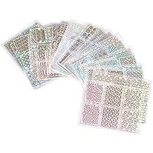 Fami 24 Fogli Nuovo Nail Hollow irregolare griglia Stencil riutilizzabili manicure adesivi Stamping Strumenti Nail