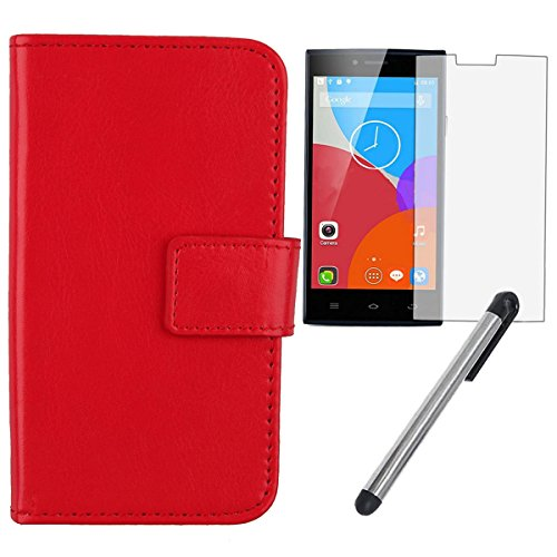 "Gukas 3in1 Set Bleu Design PU Leather Cuir Case Pour THL T6 T6S T6C T6Pro 5.0"" Housse Coque Cover Etui Flip Protection Portefeuille Wallet Tactiles Capacitif Stylet Stylo Touch Pen Stylus Film Verre T Rouge"