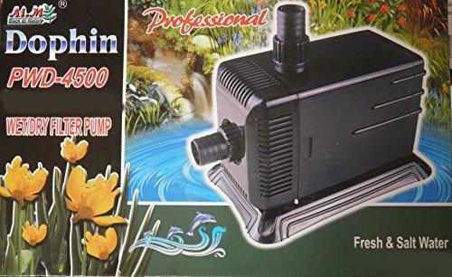 Teichpumpe Dophin PWD4500 3000L/H 3,9m Förderhöhe, 10m Kabel Externe Interne Filterpumpe (Filter Interne Aquarium)