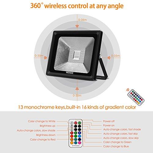 Foco LED RGB 50w IP66 con mando de MEIKEE