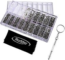 Mudder 1000 Piezas Gafas Reloj TornillosTornillos Tuercas Reparación para el Reloj / Gafas/ Gafas de Sol/ Anteojos