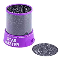Aisence Romatic 1PCS New Colorful Sky Star Master With Moon Novel Festival Gifts Projector Night Light Romatic Cosmos LED Starry Light Lamp (C1)