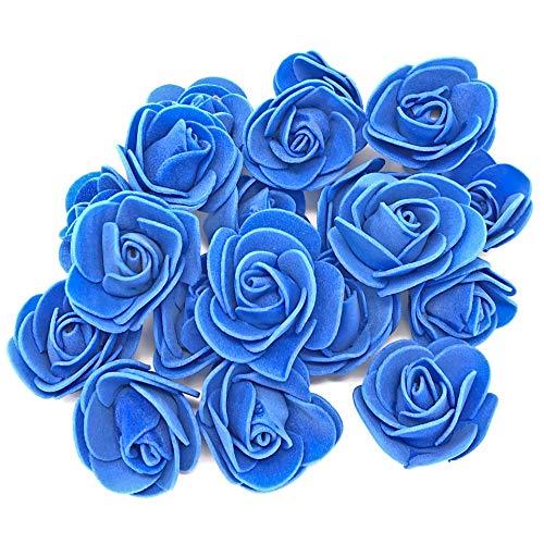 Rosenblumen aus Schaumstoff, Dekorative Kunstblumen, Königsblau, 30mm., Schaumstoff, blau, 30 mm China Blue Royal Satin