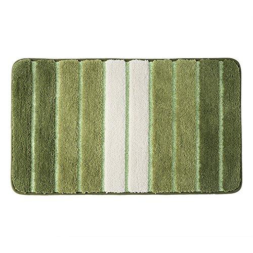 YIWAN Gestreifte Schlafzimmer-Fußmatte Fußmatte Teppich Bad Bad rutschfeste saugfähige Matte grün 50x80cm (Große Schokolade-bad-teppich)