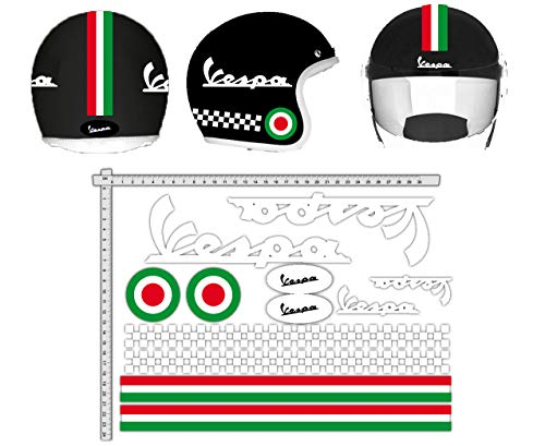 MAS DI VITALE MARIA Ditta individuale Adesivi Casco Kit Vespa Bianco Strisce Italia Helmet Vinile Lucido Assortiti in V