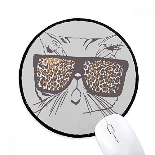 Leopard Print Sonnenbrille Cat Head Animal rund rutschfeste Mousepads schwarz titched Kanten Spiel Büro Geschenk
