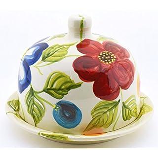 Art Escudellers Jardin-Dekoration aus Keramik Handgefertigt und mit Blumen und Blättern Bemalt 44120 - Käseglocke