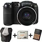 Fujifilm FinePix S2980 Digital Camera + Case + 8GB Memory +4 AA Battery and Charger (14MP, 18x Optical Zoom) 3 inch LCD Screen