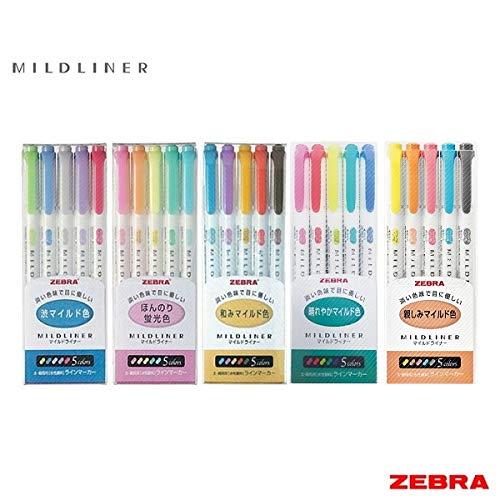 Zebra Mildliner-Surligneurs 25couleurs (comprend les ensembles WKT7-N-5C et WKT7-5C-HC)