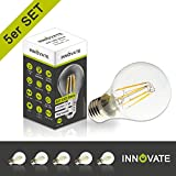 [ 5er Pack / Set ] INNOVATE E27 LED Filament Glühfaden Lampe Birne Leuchtmittel / 7W - ersetzt 50-60W Glühlampe, Glas, warmweiss - 2700K, 700 Lumen, 360° Abstrahlwinkel
