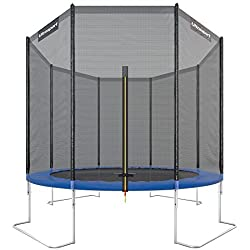 Ultrasport outdoor garden trampoline jumper, trampoline complete including jumping mat, safety net, padded net posts and edge cover, up to 160 kg, blue, Ø 305 cm
