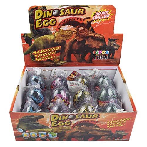 Yeelan Dino Dinosaurio Dragón de Huevos para incubar Creciente Juguete de Gran tamaño de Paquete de 12 Unidades, el Crack Negro 3