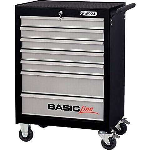 KS Tools 838.0007 BASICline Werkstattwagen, mit 7 Schubladen, schwarz/silber