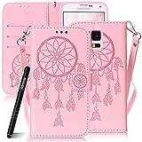 Slynmax Handytasche SchutzHülle für Galaxy S5 Mini Hülle Weich Tasche Flip Wallet Ledertasche Campanula Indische Sonne Dream Hand Strap Brieftasche Lederhülle mit Lanyard HandyhülleKlapphülle,Pink)
