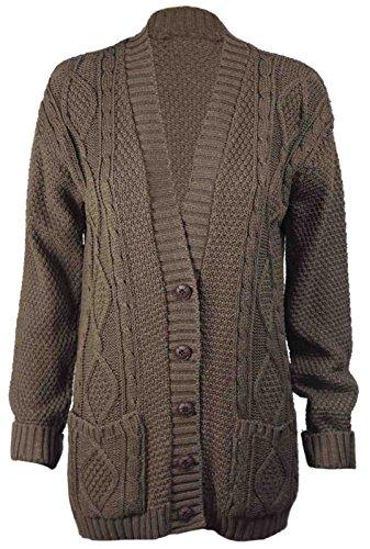 Bouton tricoté longues pour femmes Chunky câble Cardigan EUR Taille 36-54 Moka