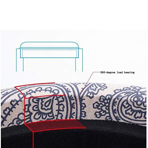 Unbekannt ERT Moderne Möbel Massivholz Lagerung Sofa Spielzeug Box Fuß Hocker Sitzbank Sitz L49Cm * W 49 cm * H 42 cm,Blau Bedrucktes Leinen