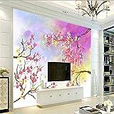 Svsnm Blumen Wallpaper Aquarell Wallpaper 3D Kinder Für Jungen Umweltfreundlich Verdicken Fototapete Tv Hintergrund-420cm(W) x260cm(H)
