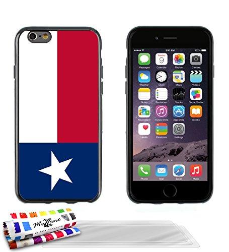 Ultraflache weiche Schutzhülle APPLE IPHONE 6 PLUS 5.5 POUCES [Flagge Texas] [Rot] von MUZZANO + 3 Display-Schutzfolien UltraClear + STIFT und MICROFASERTUCH MUZZANO® GRATIS - Das ULTIMATIVE, ELEGANTE Schwarz + 3 Displayschutzfolien