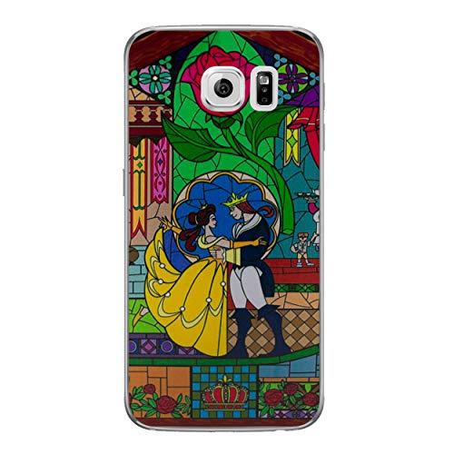 Die Schöne und Das Biest Rose Telefon Hülle/Case für Samsung Galaxy S6 Edge (G925) mit Displayschutzfolie / Silikon Weiches Gel/TPU / iCHOOSE / Glasmalerei - Tanz