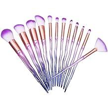 Juego de 12 brochas de maquillaje en espiral para cosméticos de fibra sintética, color morado