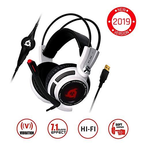 KLIMTM Puma Gaming Headset - USB 7.1 Kopfhörer - Integrierte Vibrationen - Mikrofon - Für PC Mac PS4 Laptop Games - Over Ear Gamer Headphones - Noise Cancelling Microphone [ Neue 2019 Version ] Weiß Audio Pro Wireless-headset