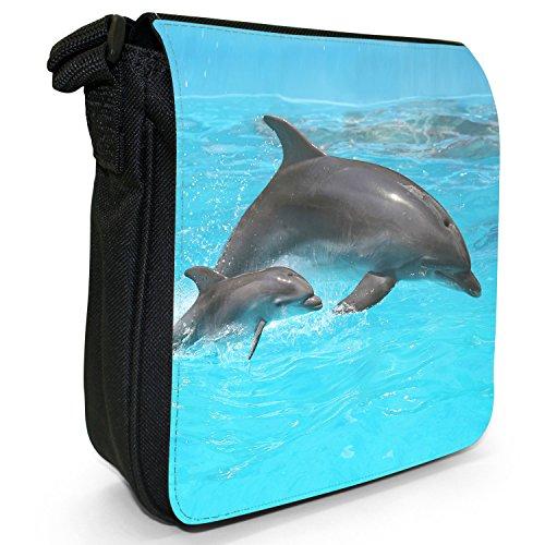 Delfini piccolo nero Tela Borsa a tracolla, taglia S Mum & Baby Dolphin
