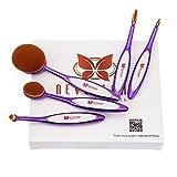 Neverland Beauty Professionel Ovales Pinceaux Maquillage - 5 Pinceaux Set Conception du style de Brosse à dent Violet + blanc
