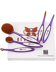 Neverland Beauty Professionel Ovales Pinceaux Maquillage - 5 Pinceaux Set Conception du style de Brosse à dent...