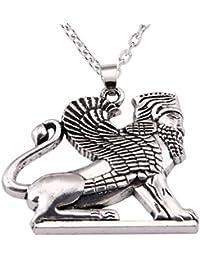 VASSAGO - Collar con Colgante de león con Amuleto esfinx de la Antigua Criatura Griega egipcia con la Cabeza de un ser Humano y el Cuerpo de un león