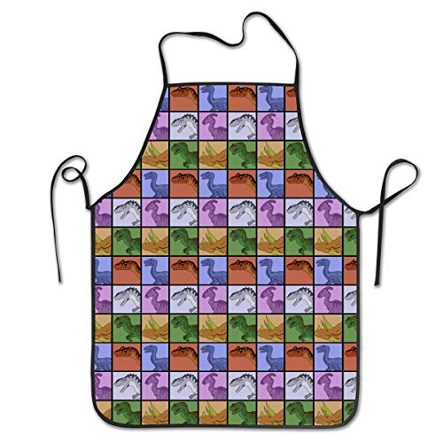 Chef Baker Square (fdghjdyjdty Dinosaur Squares Personalized Apron for Kitchen Baker Baking Restaurant Cooking Chef Crafting Apron Sleeveless)