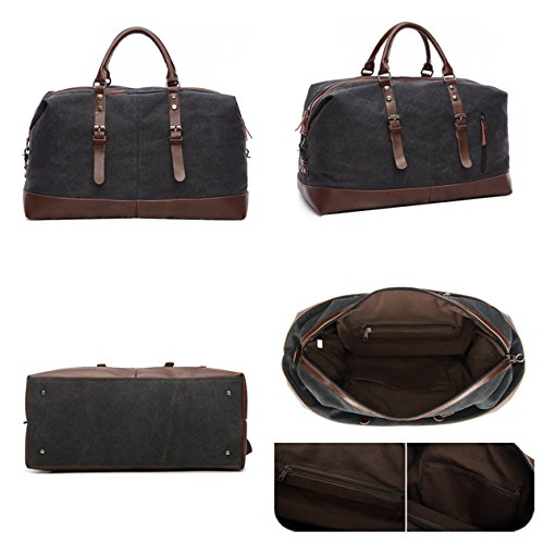 Seesack Reisetasche,mSure Übergroße Leinwand Reisetasche Gepäck, Unisex Weekender Duffle Tasche(Style A - Schwarz) Style C - Black