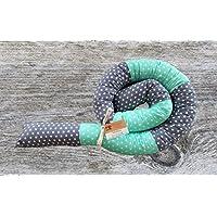 Bettschlange, Grau/Mint mit Sternen, 180cm/210cm/250cm, Handmade, Baby Nestchen